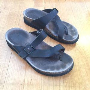 MEPHISTO Helen black leather cork sandals size 8